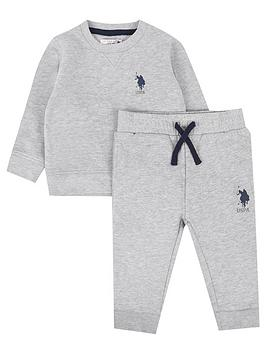 us-polo-assn-baby-boys-player-crew-sweat-set-grey