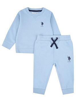 us-polo-assn-baby-boys-player-crew-sweat-set-light-blue