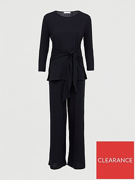 v-by-very-tie-front-rib-tee-co-ord-set