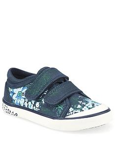 start-rite-girls-flower-canvas-strap-plimsoll-navy