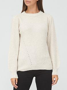v-by-very-pearl-cuff-knitted-jumper-stone