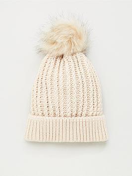 v-by-very-knitted-pom-pom-beanie-hat-cream