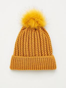 v-by-very-knitted-pom-pom-beanie-hat-mustard