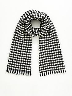 v-by-very-dogtooth-check-scarf-black-white