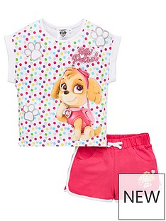 paw-patrol-girlsnbspall-over-spot-top-and-short-set-multi