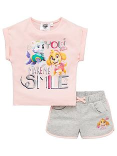 paw-patrol-girlsnbspsmile-top-and-short-set-pink