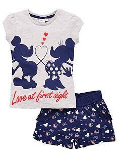 minnie-mouse-girls-minnie-mouse-love-at-first-sight-t-shirtnbspamp-short-set-grey