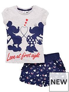 minnie-mouse-girls-minnie-mouse-love-at-first-sight-t-shirtnbspamp-short-set-grey