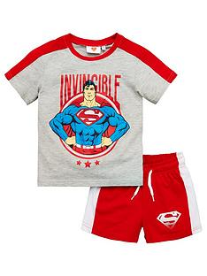 superman-boysnbspside-stripe-top-and-short-set-grey