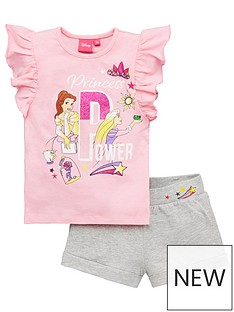 disney-princess-girlsnbspprincessnbsppower-glitter-top-and-short-set-pink