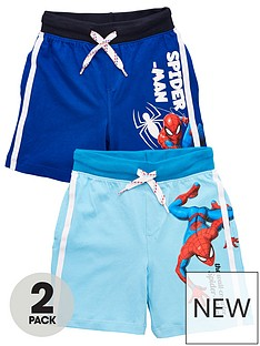 spiderman-boy-spiderman-2-pack-side-stripe-shorts-blue