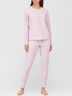 v-by-very-gift-wrapnbspheart-print-waffle-fleece-pyjamasnbsp--pink