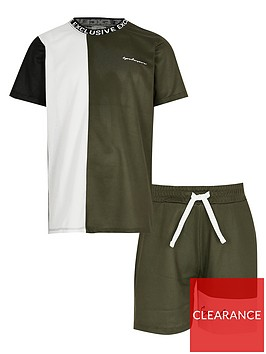 river-island-boys-2-piece-mesh-short-sleevenbspt-shirt-and-shorts-setnbsp--khaki
