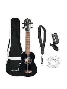 rocket-rocket-soprano-black-ukulele-with-bag-tuner-strap-and-strings