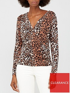 v-by-very-long-sleevenbspgathered-wrap-top-animal-print
