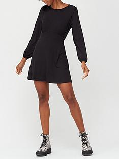 v-by-very-volume-sleeve-jersey-mini-dress-black