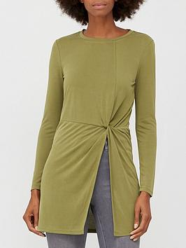 v-by-very-soft-touch-twist-detail-tunic-khaki