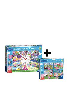 ravensburger-peppa-pig-twin-pack-4-in-a-box-and-clock-puzzle