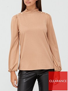 v-by-very-long-sleevenbspturtle-neck-button-detail-top-camel