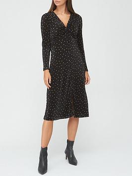 v-by-very-ruched-v-neck-plisse-midi-dress-black-heart-print
