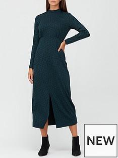 v-by-very-turtle-neck-jacquard-long-sleeve-midi-dress-greenanimal
