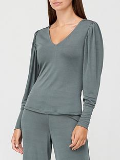 v-by-very-long-sleeve-v-neck-slinky-top-dark-teal