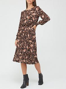 v-by-very-shirred-cuff-long-sleevenbspmidi-dress-blackpaisley