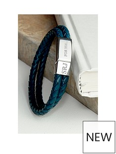 treat-republic-personalised-mens-dual-leather-woven-bracelet-in-teal