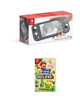 Nintendo Switch Lite Grey Console With New Super Mario Bros U Deluxe