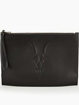 allsaints-stockwell-ramskull-clutch-bag-black