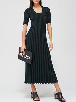 kenzo-pleated-dress-ndash-blackgreen