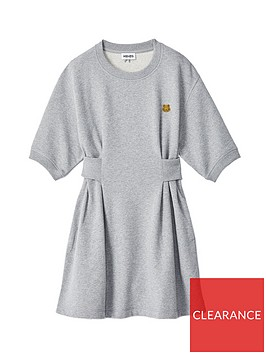 kenzo-ribbed-waist-sweat-dress-grey
