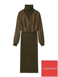 kenzo-mixed-fabric-midinbsplength-dress-brown