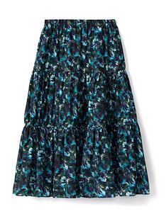 kenzo-elasticated-midi-skirt-blue
