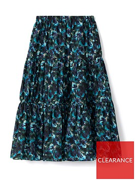 kenzo-elasticated-midi-skirt-blue