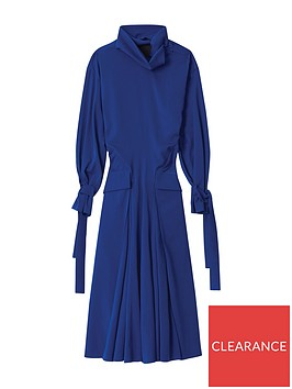 kenzo-long-flared-quilted-dress-blue