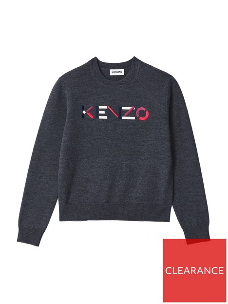kenzo-logo-embroidered-jumper-grey