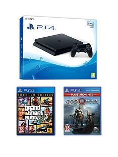playstation-4-ps4-black-500gb-console-with-gta-v-amp-god-of-war-hits-ps4-withnbspoptional-extras