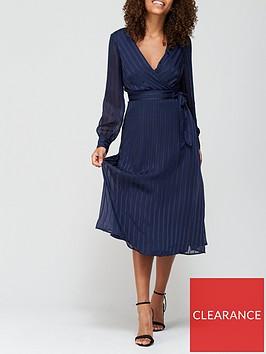 v-by-very-burnout-stripe-wrap-midi-dress-navy