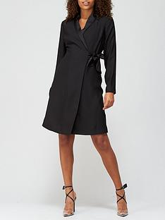 v-by-very-side-tie-blazer-dress-black