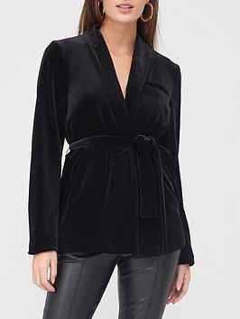 v-by-very-velvet-tie-waist-blazer-black
