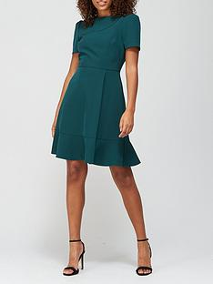 v-by-very-short-sleeve-mini-dress-forest-green