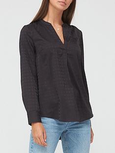v-by-very-dogtooth-jacquard-notch-neck-blouse-black