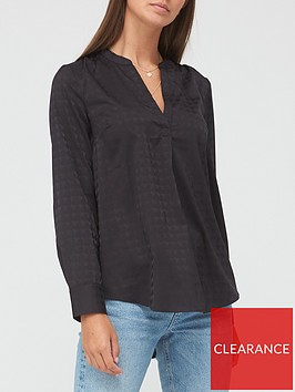 v-by-very-dogtooth-jacquard-notch-neck-blouse-black