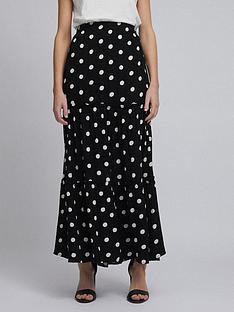 dorothy-perkins-polka-dot-tiered-maxi-skirtnbsp--black