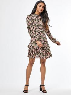 dorothy-perkins-petite-floral-ruffle-fit-and-flare-dress-black