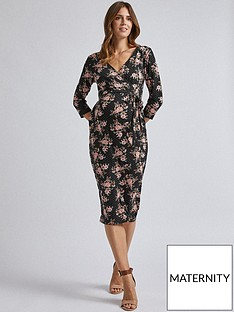 dorothy-perkins-maternity-split-front-ruched-wrap-dress-multi