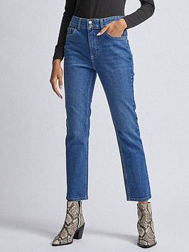 dorothy perkins mid rise slim jeans - midwash