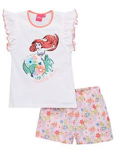 the-little-mermaid-girls-disney-princess-ariel-frill-vest-shorty-pyjamas-white
