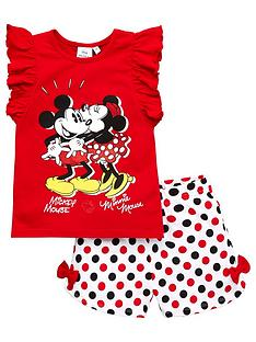 minnie-mouse-girls-mickey-mouse-amp-minnie-mouse-frill-shorty-pyjamas-red